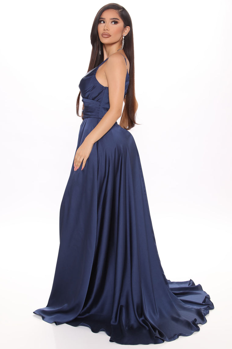 Elegant Evening Satin Maxi Gown - Navy