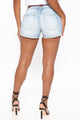 Riding The Wave Mid Rise Denim Shorts - Light Blue Wash