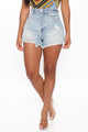 Decades Ago Distressed Denim Shorts - Vintage Blue Wash