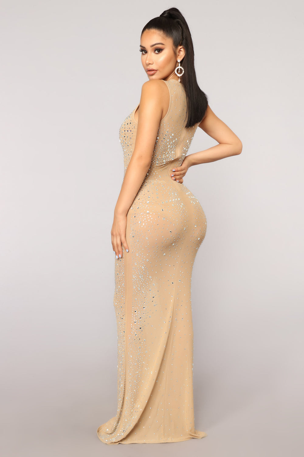 See You Through Mesh Dress - Taupe