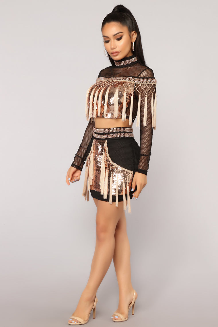 Popularity Fringe Sequin Set - Black/Rose Gold