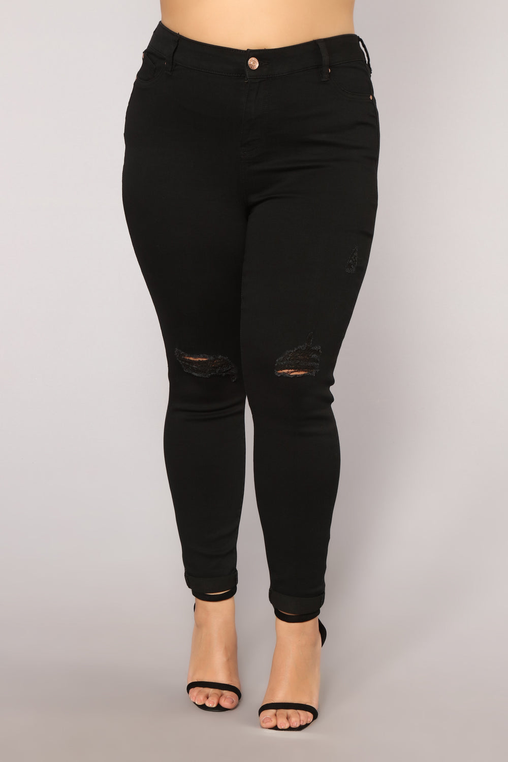 Rolling Deep Distressed High Rise Jeans - Black