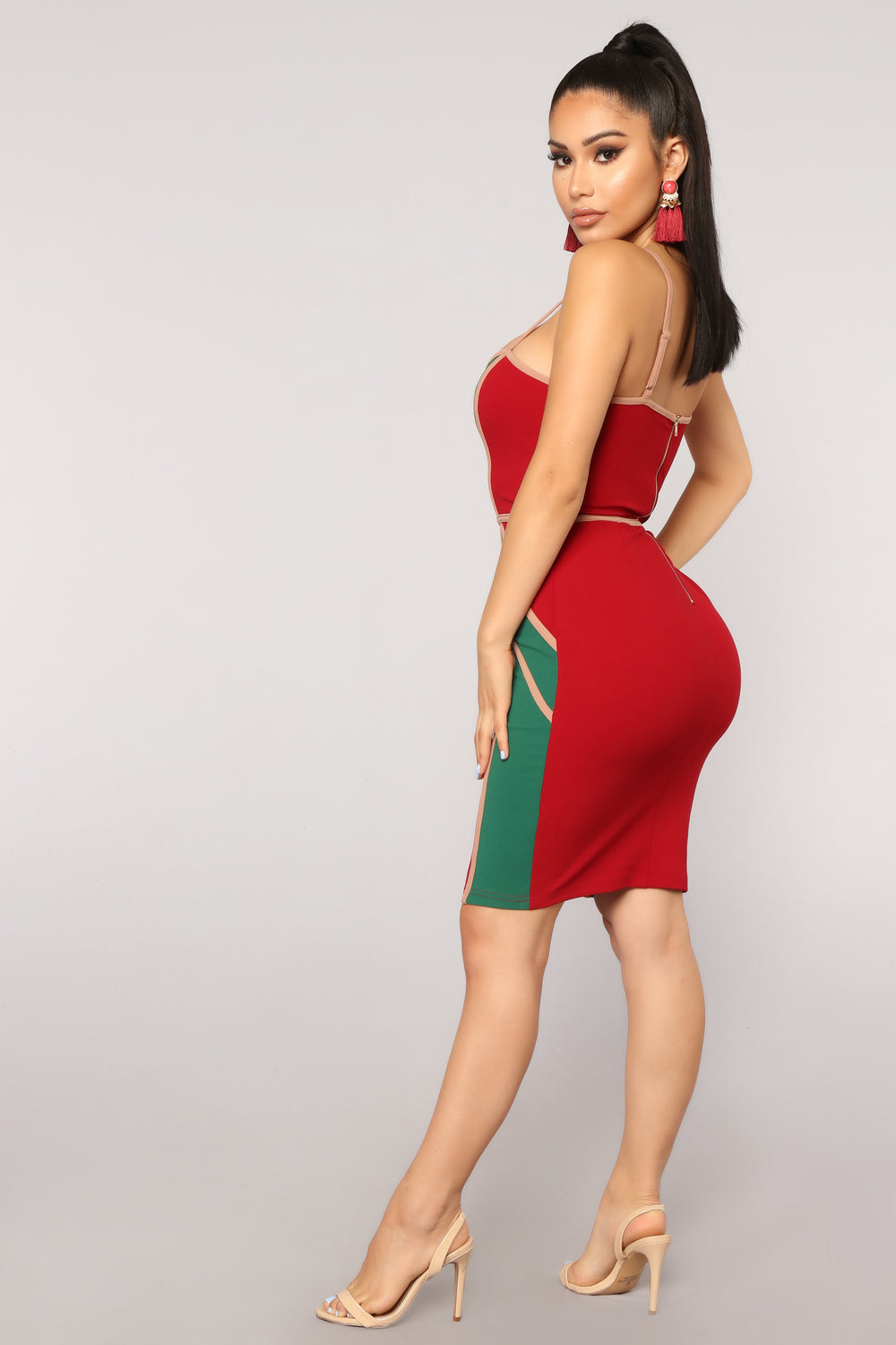 Sunset Boulevard Colorblock Dress - Red/combo