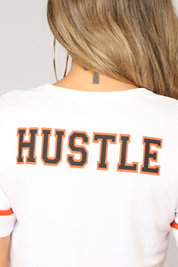 Hustle And Flow Jersey Top - White/Orange