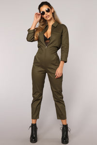 Work It Girl Jumpsuit - Olive