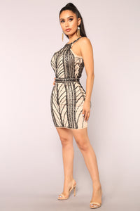 Star Power Beaded Dress - Black/Nude