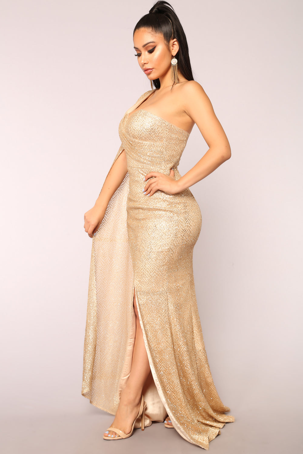 Golden Era Glitter Dress - Gold