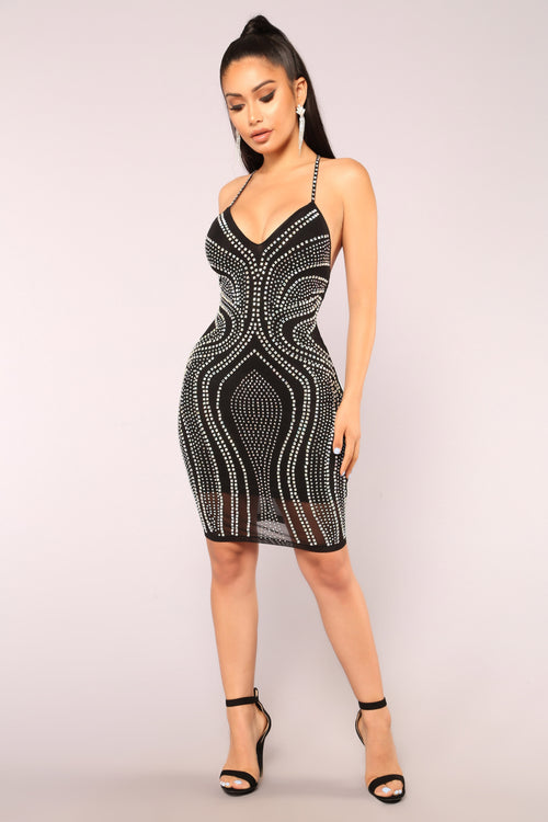 Harlene Rhinestone Dress - Black