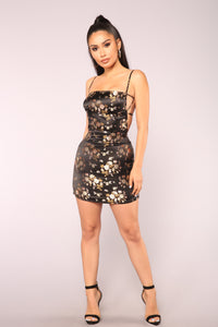 Lunar Satin Mini Dress - Black