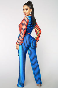 Sound And Color Jumpsuit - Royal/Multi