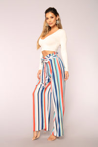 Hard To Forget Striped Pants - Blue Angle 3
