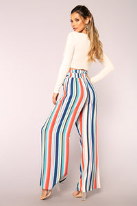 Hard To Forget Striped Pants - Blue Angle 5