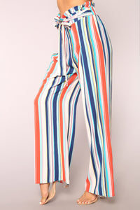 Hard To Forget Striped Pants - Blue Angle 4