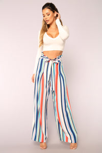 Hard To Forget Striped Pants - Blue