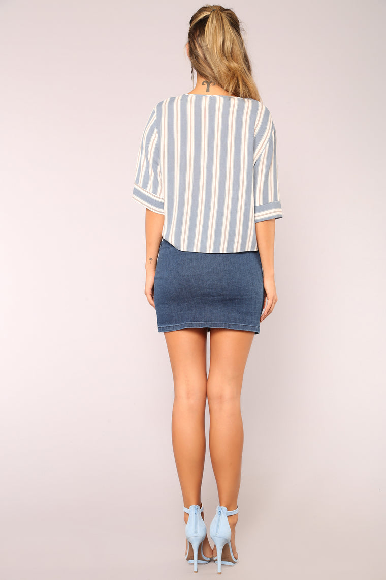 Happier Denim Skirt - Dark Wash