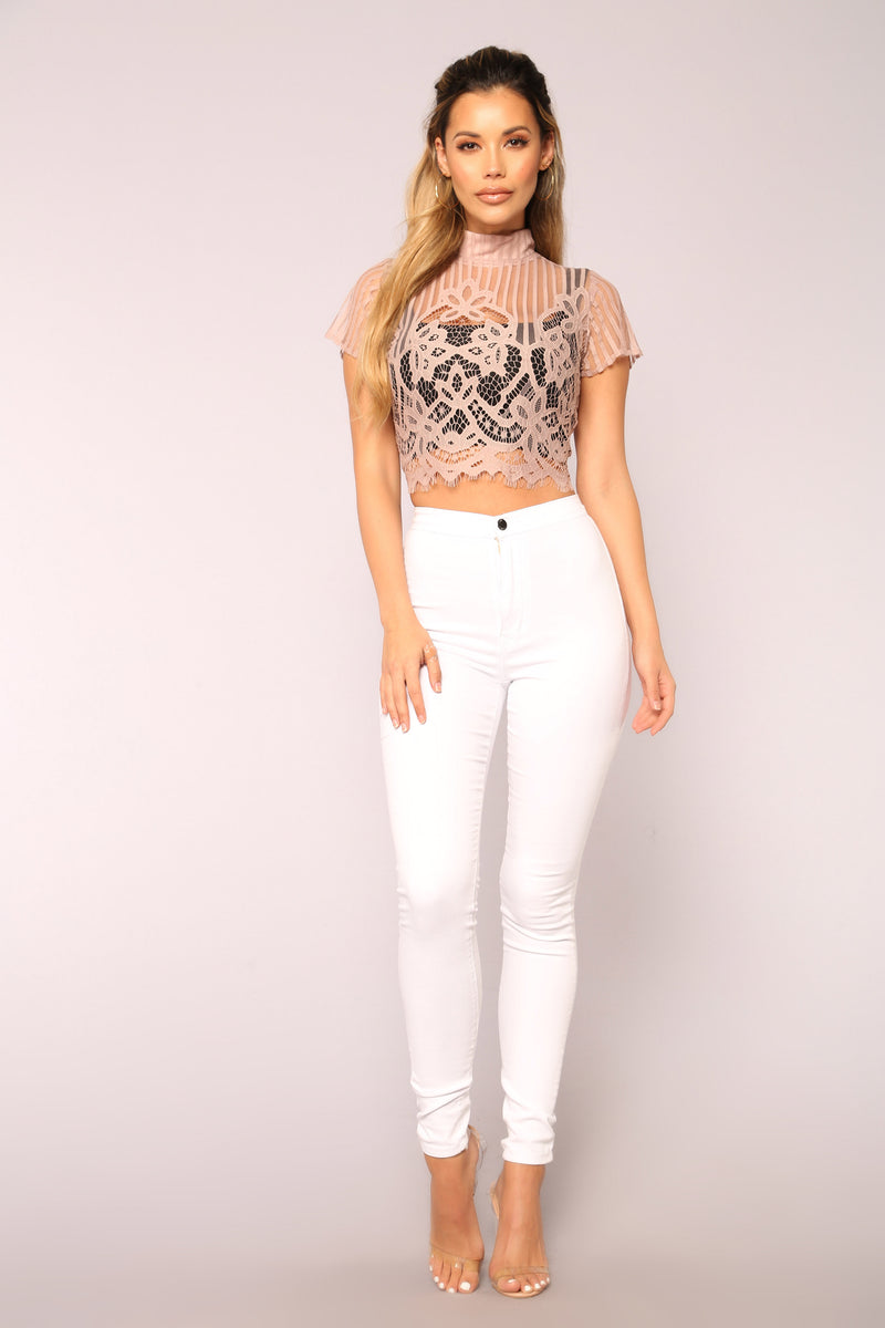 No Question Lace Stripe Top - Mauve