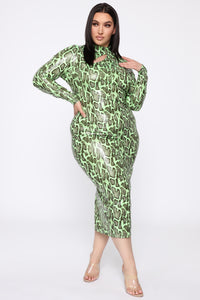Wildin' Out Snake Print Maxi Dress - Lime/Combo