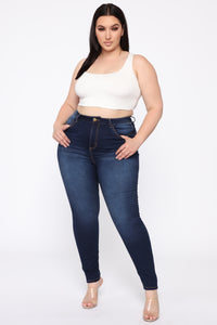 Alexa II High Rise Skinny Jeans - Dark Denim Angle 1