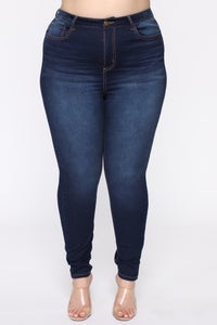 Alexa II High Rise Skinny Jeans - Dark Denim Angle 2