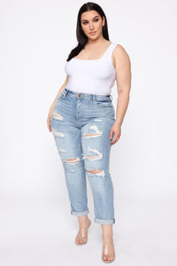 I Want It That Way II Mid Rise Jeans - Light Blue Wash Angle 1