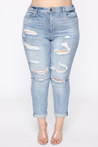 I Want It That Way II Mid Rise Jeans - Light Blue Wash Angle 2