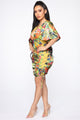 Coastal View Tropical Dress - Yellow/combo