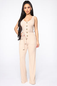 Get Close To Me Ribbed Jumpsuit - Sand