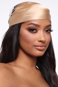 Blocked Out Head Scarf - Gold/combo