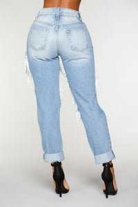Simply Shredded Boyfriend Jean - Light Blue Wash