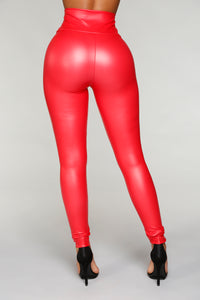Hold My Sauce Zip Front Leggings - Red