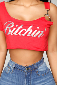 Resting B*itch Face Crop Top - Red