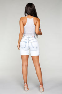 Stay Wishin' Distressed Denim Bermudas - Acid Blue Wash