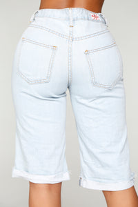 Do Better Distressed Denim Bermudas - Light Blue Wash