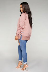Angelina Lace Up Bomber - Mauve