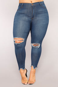Always In High Demand Distressed Jeans - Medium Blue Wash