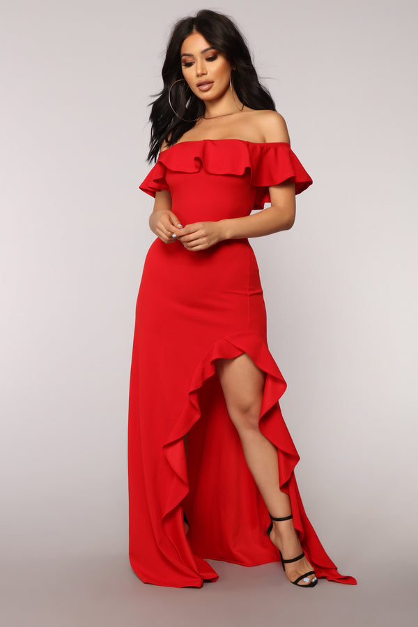 ae623b2fab4 Chasin  Love Ruffle Dress - Red