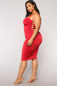 Framed Lace Up Dress - Red Angle 10