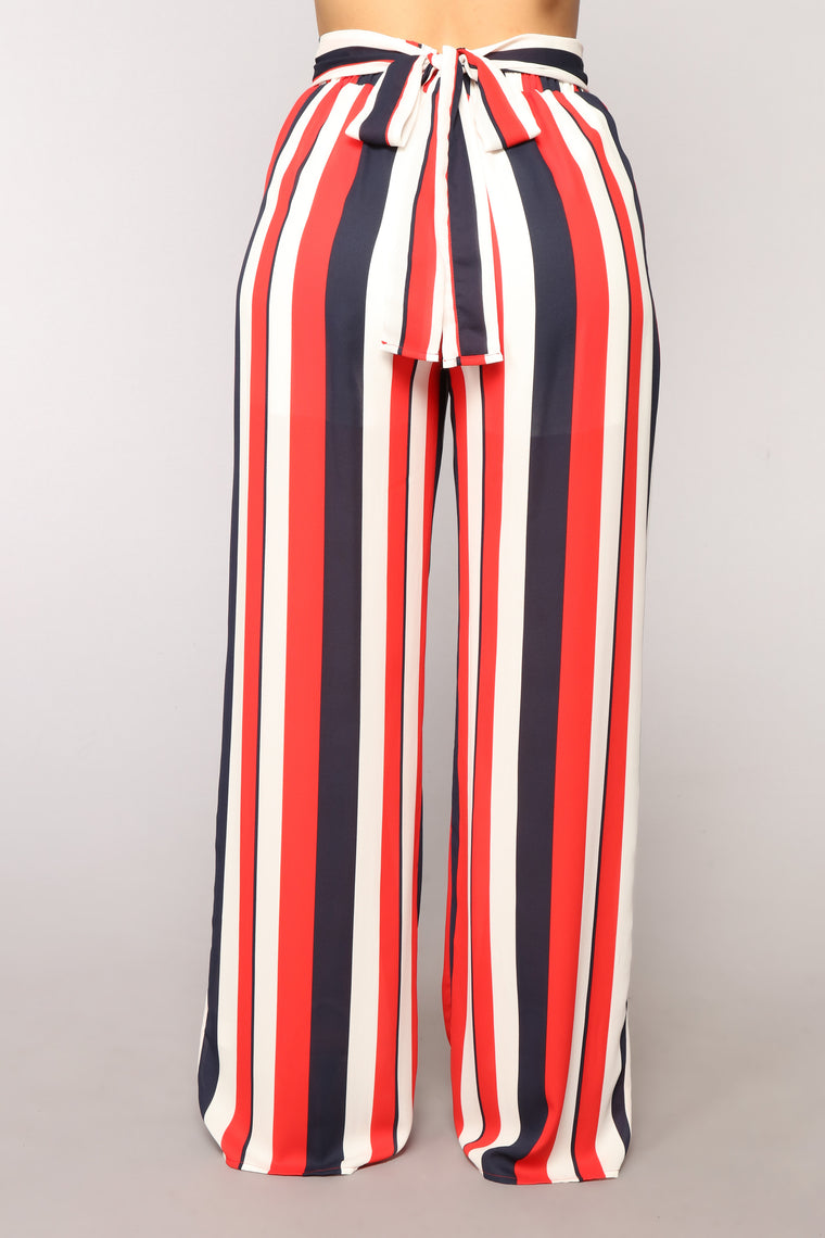 Easy To Love Striped Pants - Red