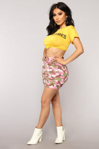 New Wave Camo Skirt - Pink