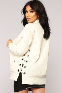 Angelina Lace Up Bomber - Ivory