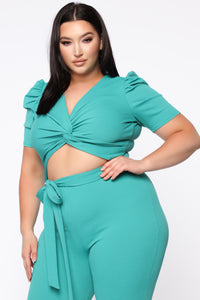 Isia Twist Front Jumpsuit - Green
