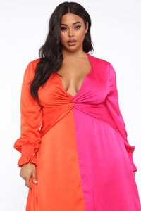 Love Me More Color Block Dress - Orange/Combo