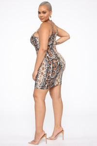 She's Misunderstood Snake Print Mini Dress - Brown/combo