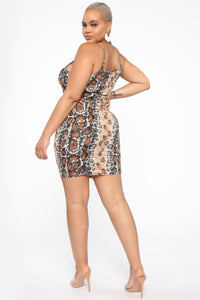 She's Misunderstood Snake Print Mini Dress - Brown/combo Angle 4