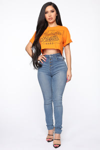 Hustle Every Day Crop Top - Orange