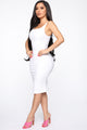 Calling My Phone Denim Midi Dress - White