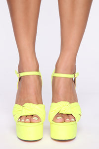 Honestly Heeled Sandals - Neon Yellow Angle 3