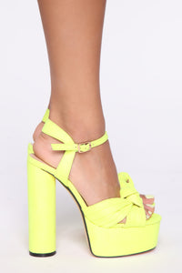 Honestly Heeled Sandals - Neon Yellow Angle 4