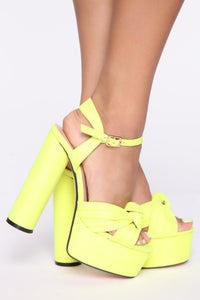 Honestly Heeled Sandals - Neon Yellow Angle 2