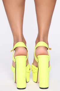 Honestly Heeled Sandals - Neon Yellow Angle 5